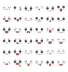 cute emotion face in various expession editable vector image
