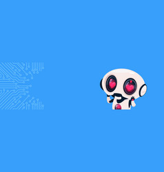 cute robot with hearts in eyes over circuit vector image