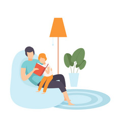 Dad reading for little son family in everyday vector