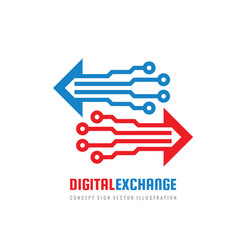 digital exchange - concept business logo design vector image