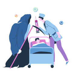 Doctor fight against grim reaper for life vector