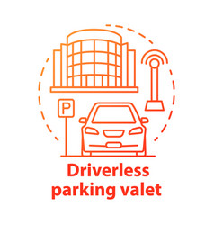 Driverless parking valet concept icon smart vector