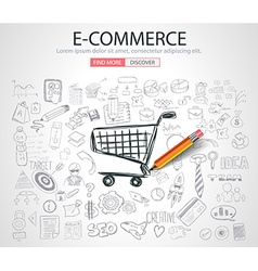 E-commerce Concept with Doodle design style vector image