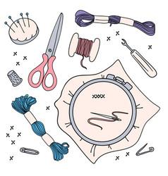 Emroidery work set vector