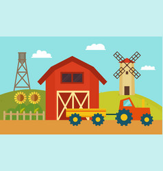 farm with windmill and tractor vector image