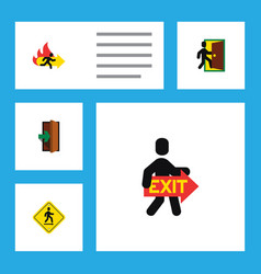 flat icon exit set of fire exit exit direction vector image
