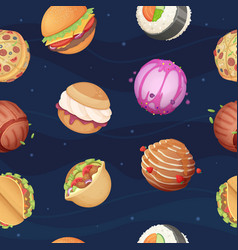 food planets pattern fantastic space world vector image