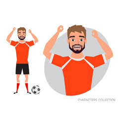 football character soccer player emotion of joy vector image