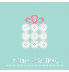 Gift box made from white buttons Christmas vector image
