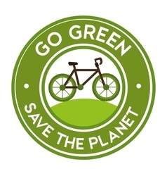 Go green save the planet bike icon sticker vector
