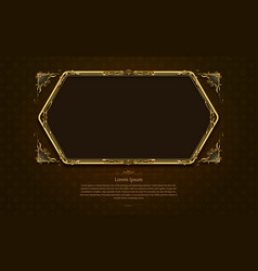 Gold frame circle border picture and pattern vector