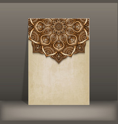 grunge paper card with brown floral circular vector image