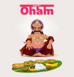Happy onam festival in kerala god king mahabali vector