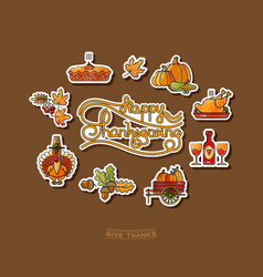 happy thanksgiving stickers and handwritten vector image