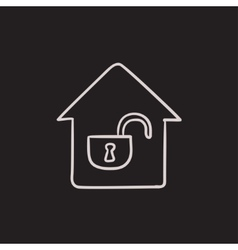 House with open lock sketch icon vector image vector image