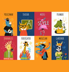 Humanized animals professions vertical cards vector
