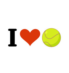 i love tennis heart and ball emblem for sports vector image