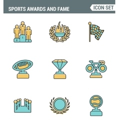 Icons line set premium quality of awards and fame vector