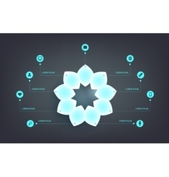Infographics step by with neon shiny petals vector