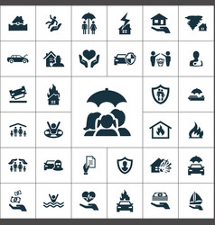 Insurance icons universal set for web and ui vector