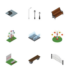 isometric urban set of sitting fountain aiming vector image