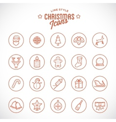 line style christmas and new year icon set vector image