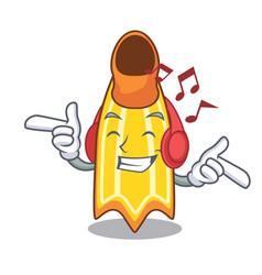 Listening music swim fin mascot cartoon vector