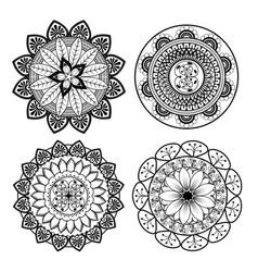 Mandalas monochrome boho style set vector