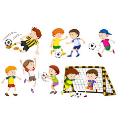 Many boys playing football vector