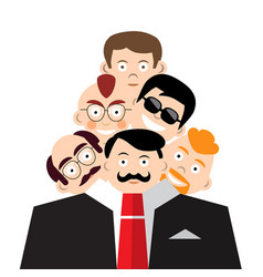Men faces in suit schizoid personality concept vector