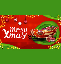 merry christmas and green discount banner vector image