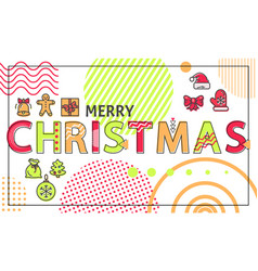 Merry christmas banner with bright linear figures vector