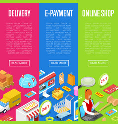 online shopping and e-payment isometric 3d posters vector image