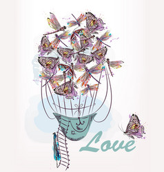 or card with air balloon created from dragonfly vector image
