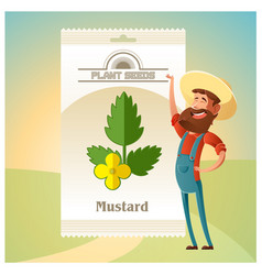 Pack mustard seeds icon vector
