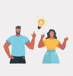 people couple have an idea vector image