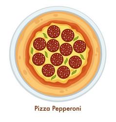 pizza pepperoni italian food dish salami and vector image