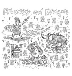 princess and dragon art in outline magic fantasy vector image