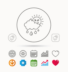 Rain and sun icon water drops with cloud sign vector