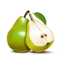 realistic detailed 3d green whole pear and slices vector image
