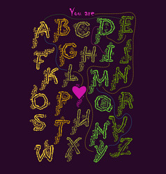 Rebus romantic message - you are my ideal vector