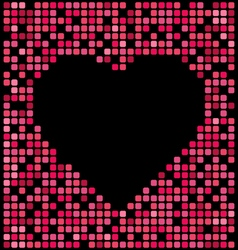 red squares pixel background black heart center vector image