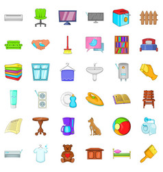 Relax in house icons set cartoon style vector