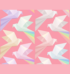 Seamless texture with multi colored origami doves vector