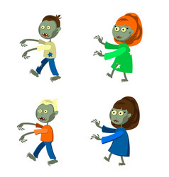 Set a zombies isolated on white background vector