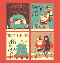 Set christmas cards with santa s transportation vector