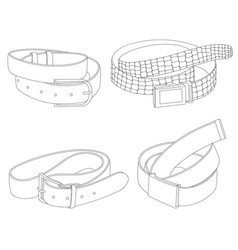 set different belts isolated on white vector image