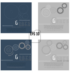 set of of gears with on the grey background vector image