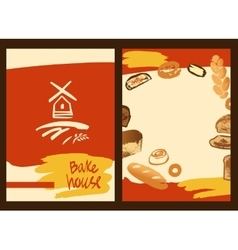 Set of of hand drawn bread bun and vector