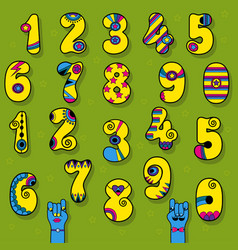 Set of vintage numerals yellow signs with bright vector